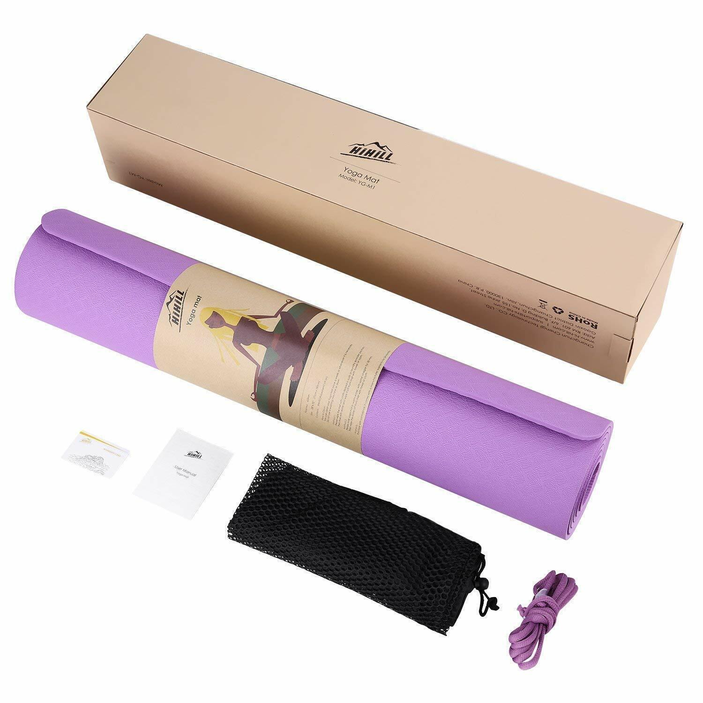 HiHill Yoga Mat, -TPE Non Slip, High Density, with Carry Bag (YG-M1, Purple) 1