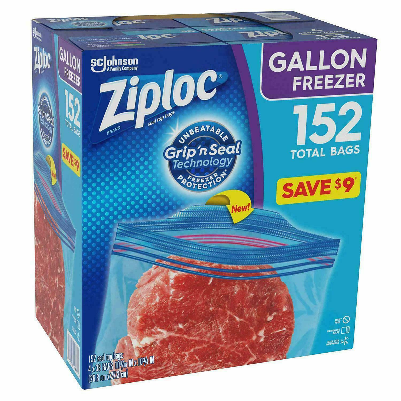 Ziploc Double Zipper Freezer Gallon Bags, Total: 152 Bags