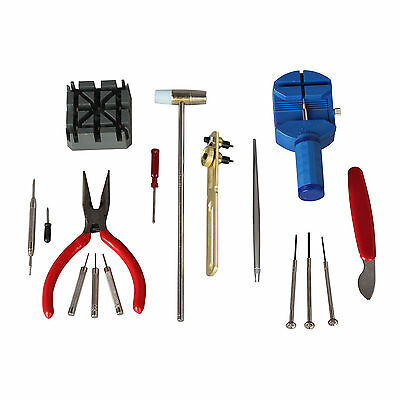 Watch Repair Tool Kit Case Opener Link Spring Bar Band Pin Hand Remover Hammer