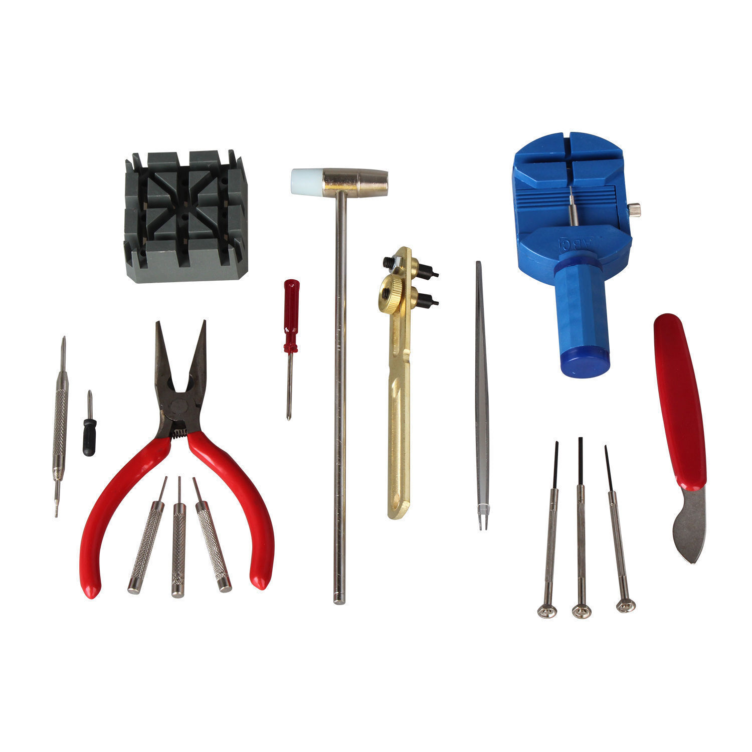 Watch Repair Tool Kit Case Opener Link Spring Bar Band Pin Hand Remover Hammer Jewelry & Watches