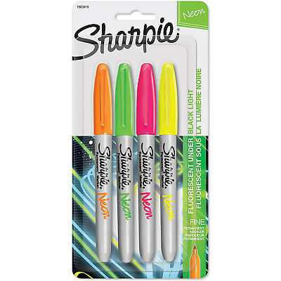 Sharpie Neon Permanent Markers Fine Point Assorted Colors 4 Count