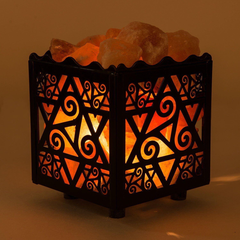 Authentic Crystal Decor Himalayan Salt Lamp Design Metal ...