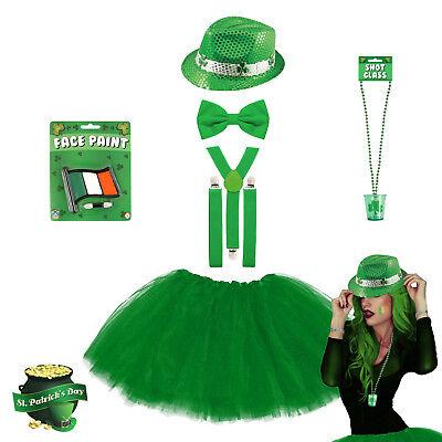 Ladies St. Patrick's Day Green Tutu Fancy Dress Costume - Irish Leprechaun Party