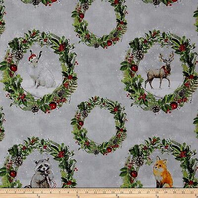 Christmas Fabric - Friendly Gathering Forest Animal Wreath Gray  Wilmington YARD ()