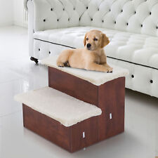 Portable Pet 2 Stair Wooden Cat Dog Puppy Ramp w/ Storage Compartment BN