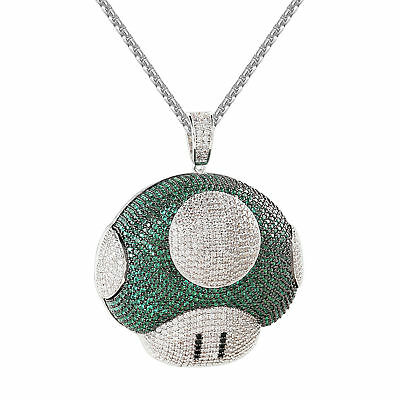 Mushroom Mario Pendant Green White Simulated Diamond Silver Chain HipHop IcedOut