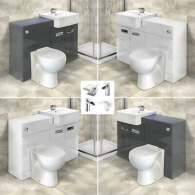 Floorstanding Combination Unit Back to Wall Toilet WC Unit White Grey Bathroom