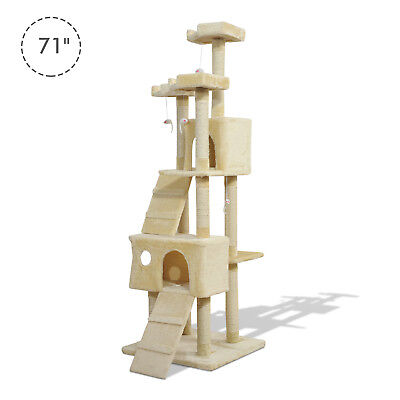 PawHut 71in Deluxe Multi-Level Cat Scratching Tree Kitten Condo Kitty Play House for sale  Scarborough