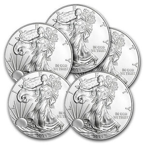 2014 1 oz Silver American Eagle Coin - Lot of 5 Coins - SKU #79744