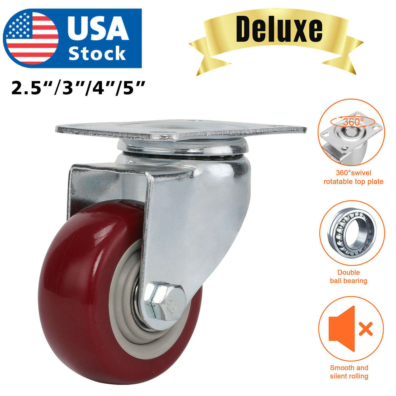 Heavy Duty  3″ 4″ 5″ Inch Caster Wheels Swivel Plate Polyurethane Wheels pack Business & Industrial