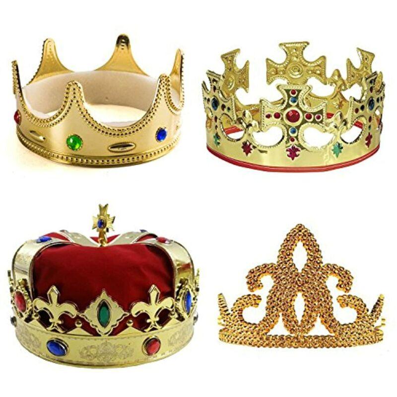 Tigerdoe Kings Crown - 4 Pack - Royal King Crowns and Princess Tiara - Costume