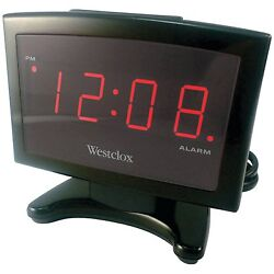 Westclox 70014 0.9 Large Red Plasma Display LED Alarm Clock