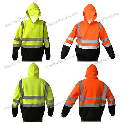 High Visibility Hooded Sweatshirts ANSI Class 3 Safety Fleece Pullover Workwear