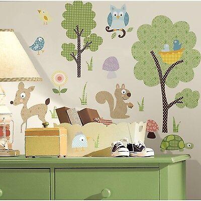 ANIMALS 89 BiG Wall Decals Kids Room Decor Deer Woodland Stickers Tree Owl Baby