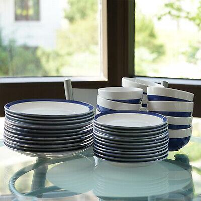 12 Pieces Blue/White Round Ceramic Dinnerware Set Home Kitchen Stoneware -