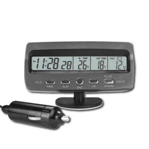 Car Voltmeter Voltage Monitor Battery Tester Alarm Thermometer Clock DT
