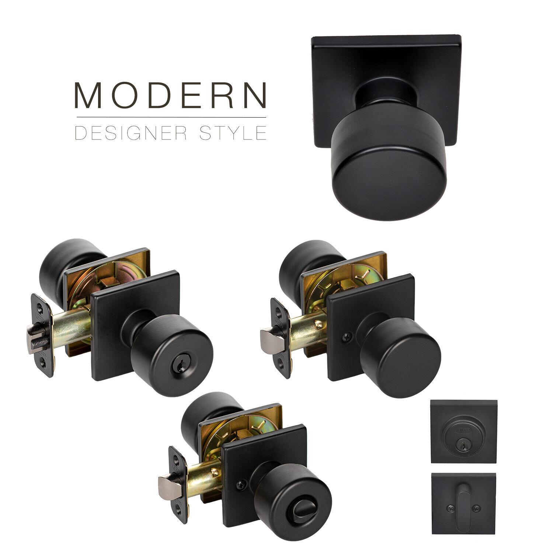 Value Project Pack Modern Flat Door Knob Square Rose Lock Handle, Matte Black Building & Hardware