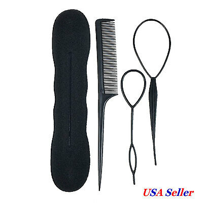 Hair Styling Tools Bun Maker Topsy Tail Braid Ponytail Maker Comb DIY