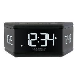 617-106 La Crosse Technology 3 Sided LED Digital Dual Alarm Clock - Black Bottom