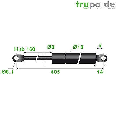 Gasdruckfeder Lift Haubenheber 250N Hub=160 Länge 405/420 Ø 8/18 mm - Made in EU