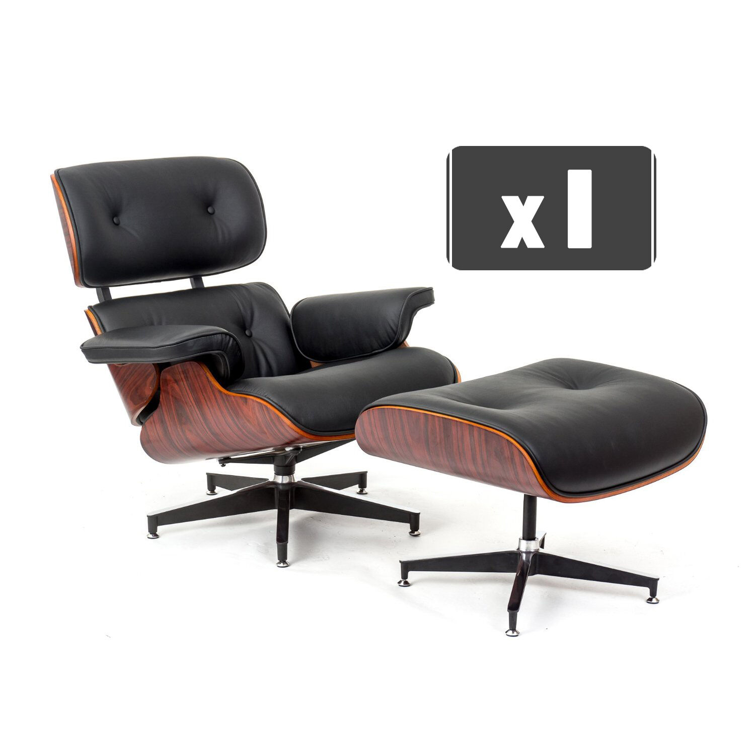 Replica Charles Eames Lounge Chair & Ottoman In Black Leather Rosewood