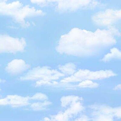 Light Blue Sky  Billowy Clouds  Landscape  Elizabeths 369 Ltblu By 1 2 Yd