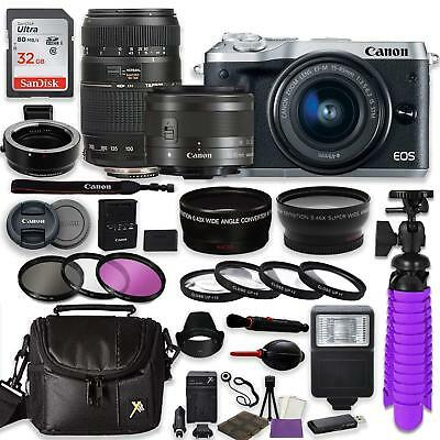 Canon EOS M6 Mirrorless Digital Camera (Silver) Bundle w/ (2) Lenses