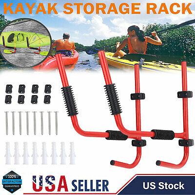 2 Pcs Kayak Storage Rack Carrier Canoe Paddle Surfboard Holder Wall Bracket 80KG