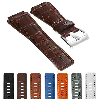 DASSARI Croc Embossed Leather Watch Band Strap for Bell & Ross B&R BR-01 BR-03