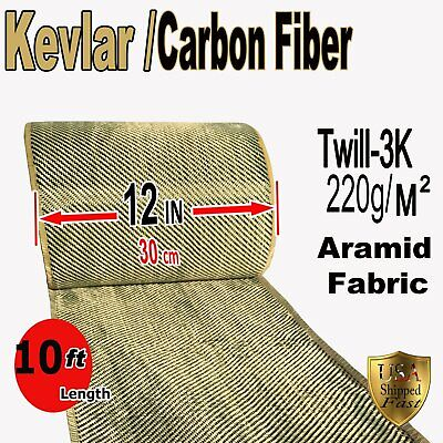 12 In X 10 Ft - Fabric Made With Kevlar-carbon Fiber Fabric - Twill -3k200gm2