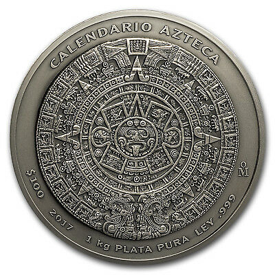 2017 Mexico 1 kilo Silver Aztec Calendar Antiqued Finish
