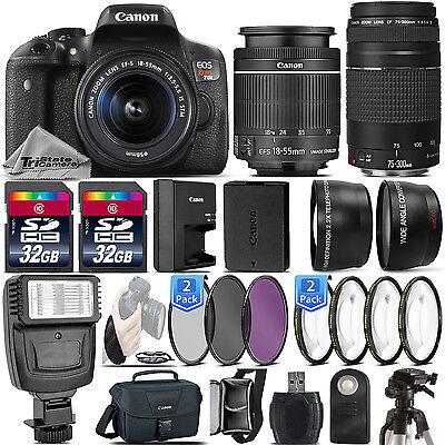 Canon Eos Rebel T6i   750D 24 2 Mp Dslr Camera   18 55Mm Stm Lens   75 300 Iii