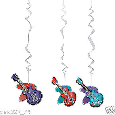 (12) 1950s Sock Hop Grease Party Decoration ROCKIN 50s GUITAR HANGING SWIRLS