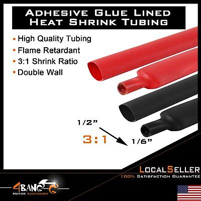 Heat Shrink Tubing Adhesive Double Wall 12 31 Ratio Black Red 10ft Each