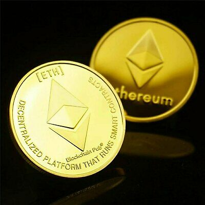 Gold Ethereum Coins Commemorative 2020 New Collectors Gold Plated ETH Coin Coins