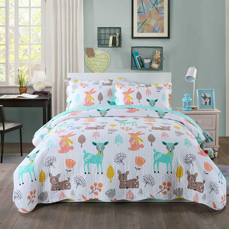 100% Cotton Kids Bedspread Quilts Set for Teens Boys Girls B
