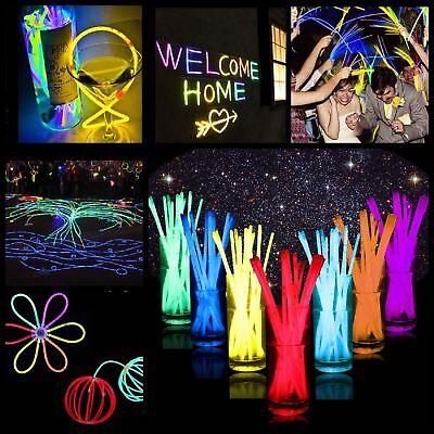 """200Pcs 8"""" Premium Glow Sticks Bracelet Necklaces Neon Party Lights Multi-Colors"""
