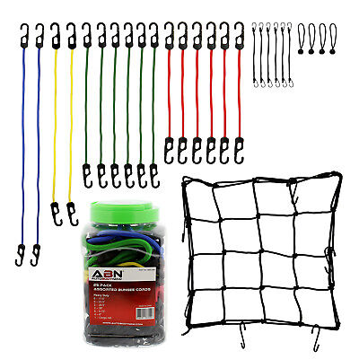Assorted Bungee - ABN Bungee Cords with Hooks 24pc Tie Down Cord Assortment & FREE Cargo Net