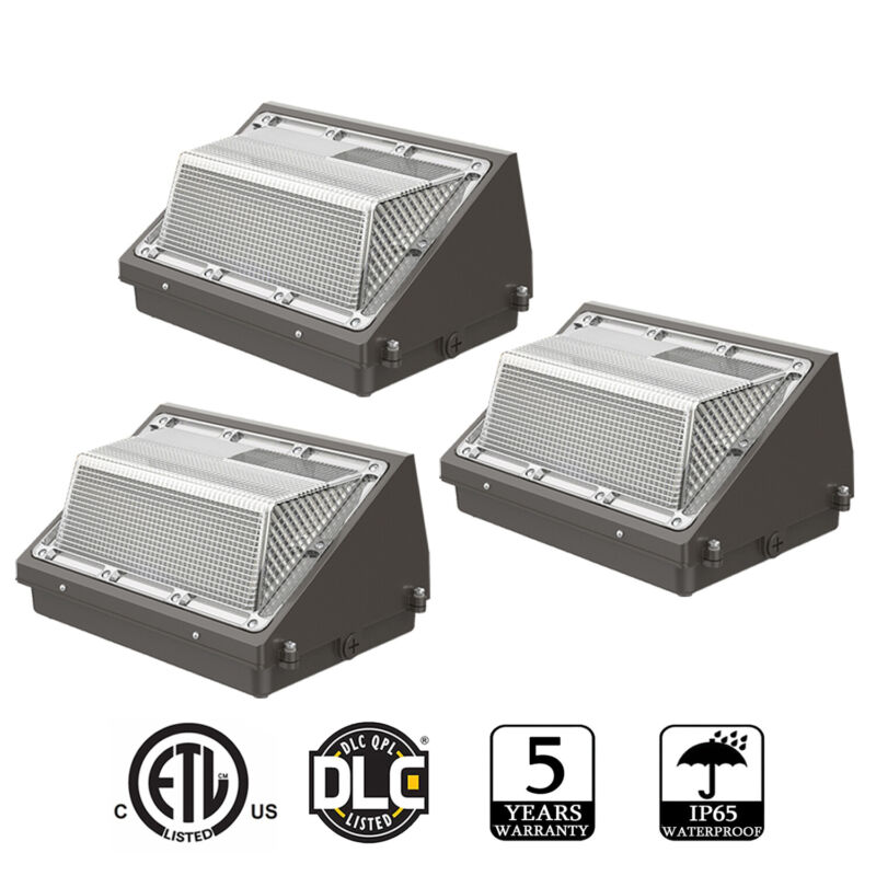 3Pack 120W LED Wall Pack Light Dusk to Dawn Commercial Outdoor Security Lighting