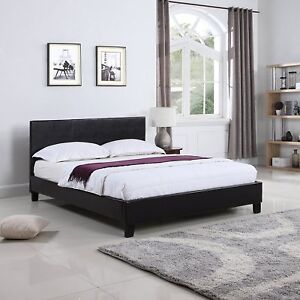 Classic Deluxe Bonded Leather Low Profile Platform Bed Frame With Paneled.