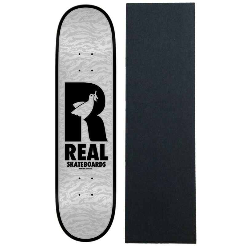 """Real Skateboard Deck Doves Renewal Black 8.25"""" x 32"""" with Grip"""