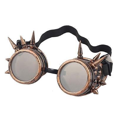 Steampunk Brille Bronze mit Braune Linsen Spikes Cyber Vintage Retro Brille UK