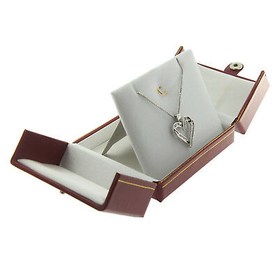 Charm Pendant Jewelry Display (Red Faux Leather Charm Pendant Box Display Jewelry Gift Box Double Door )