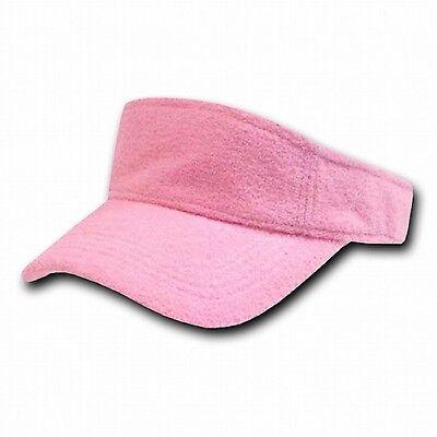 Golf Terry Visor - Light Pink Terry Cloth Golf Tennis Plain Adjustable Sun Visor Cap Caps Hat Hats