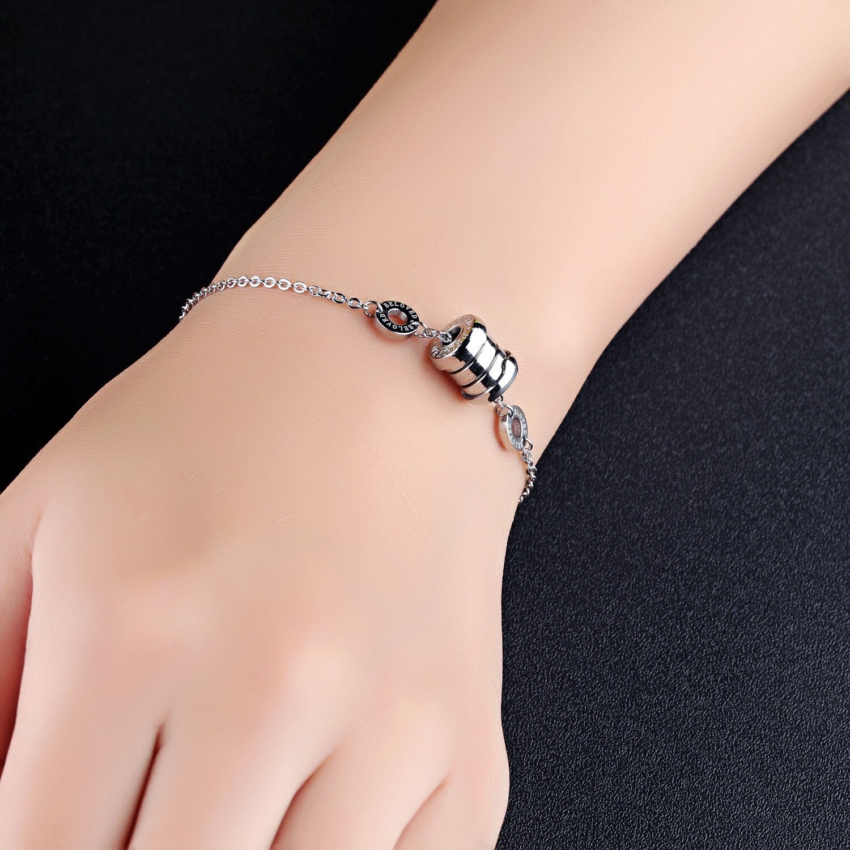 Edelstahl Damen Armband mit Kugel Anhänger Armkette Armreif Silber Bracelet