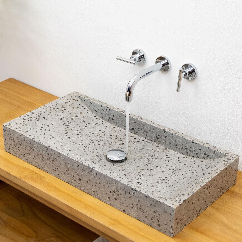 WOHNFREUDEN Terrazzo Waschbecken 70 cm grau schwarz Stein-Waschschale Steinwasch