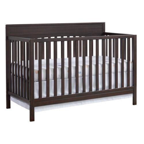 Convertible Crib 4 in 1 Baby Nursery Toddler Bed Espresso Wooden Guard Rail BRWN