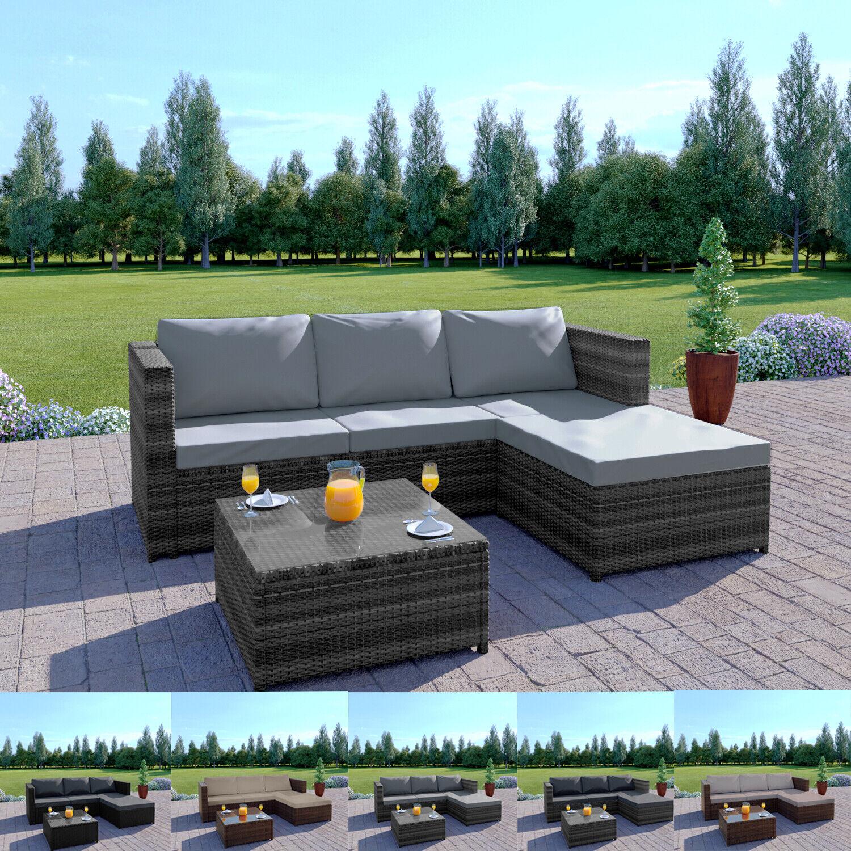 Garden Furniture - Rattan Garden Corner Sofa And Table Patio Furniture Chair Set Black Grey Brown