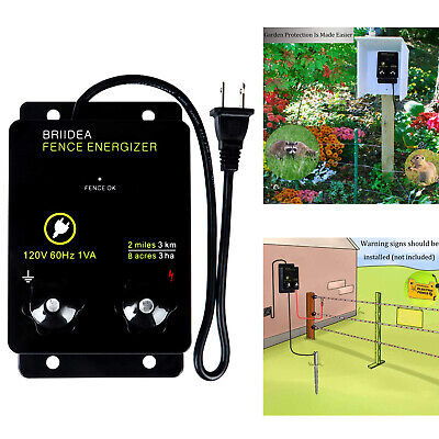 2-mile Electric Fence Energizer 8 Acres 120 Volt Preventing Wild Animals