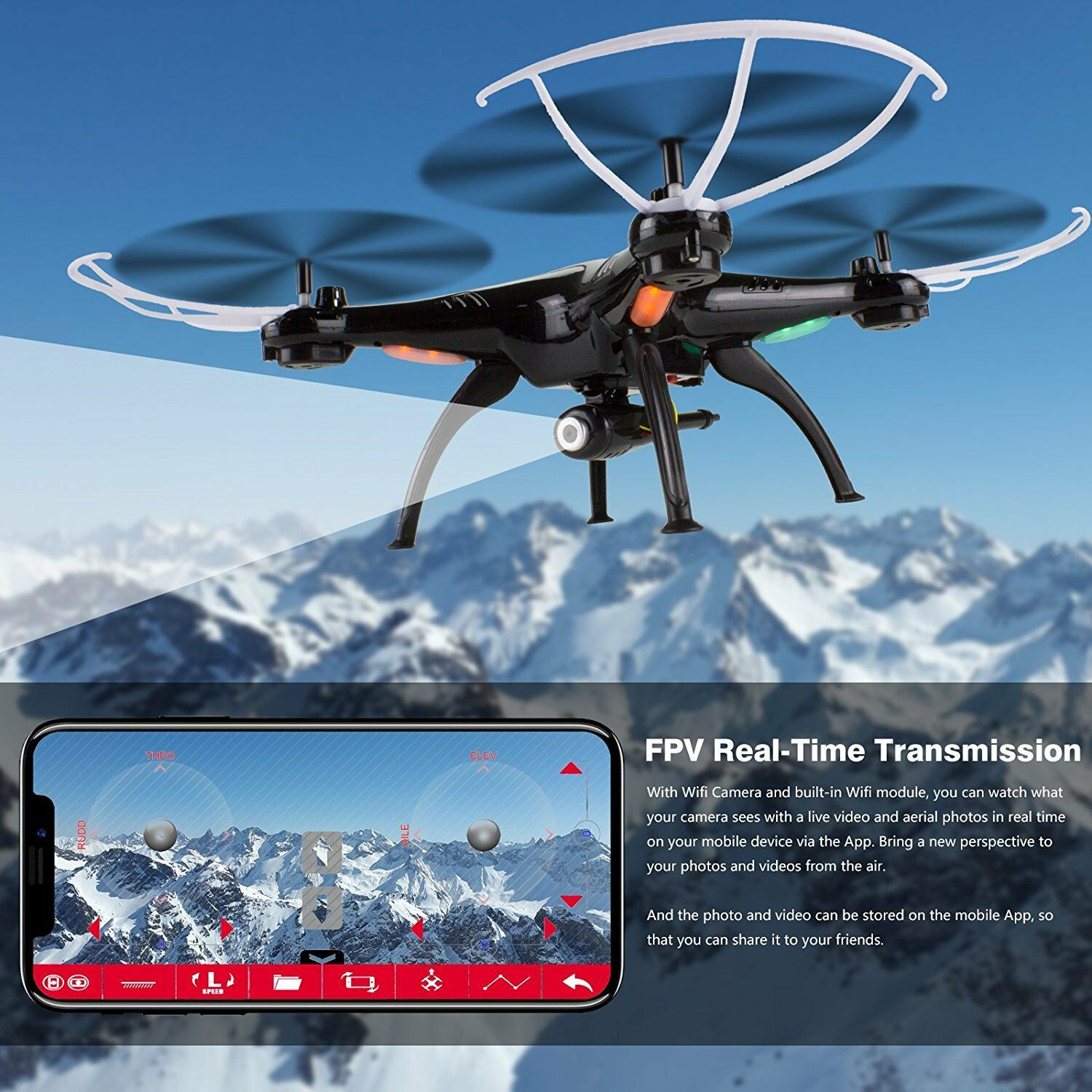 Syma X5SW-V3 Explorers 2.4Ghz 4CH RC Quadcopter WIFI FPV Drone With HD Camera